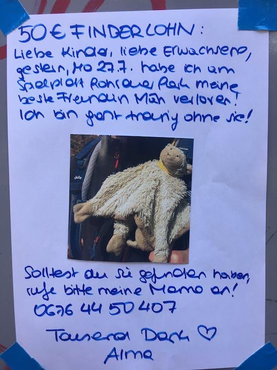 """Mama Annika lobte sogar 50 Euro Finderlohn für denjenigen aus, der """"Mäh"""" findet und zurückbringt."""