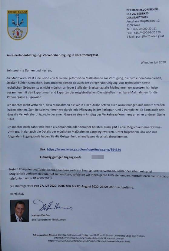 """Da Bezirkschef Derfler im Schreiben darauf hinweist, dass durch die Umgestaltung Parkplätze wegfallen, wird er wegen """"versuchter Einflußnahme"""" kritisiert."""