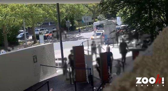 Am Eingang zum Zoo stehen mehrere Polizeiautos.