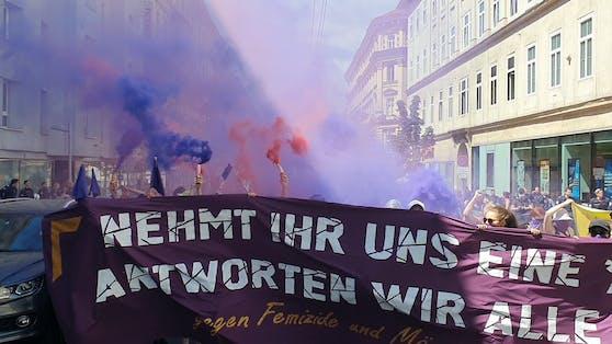 Die Radikale Linke demonstriert gegen toxische Maskulinität