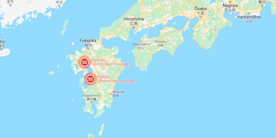 Weite Gebiete der Provinzen Kumamoto und Kagoshima auf Japans südwestlicher Hauptinsel Kyushu sind von den Unwettern betroffen..