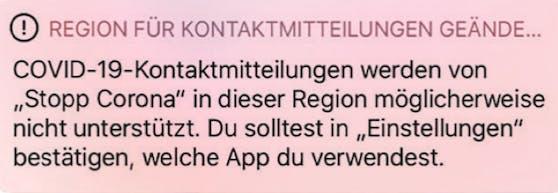 Ein Screenshot der iOS-Mitteilung.
