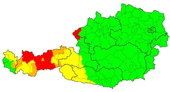 Unwetterkarte für Österreich am 1. August 2020 um 20 Uhr