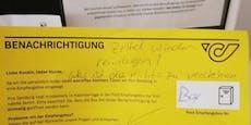 Wut-Postler hinterlässt  Nachricht auf gelbem Zettel