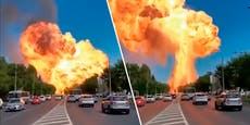 Tankstelleexplodiert in gigantischem Feuerball