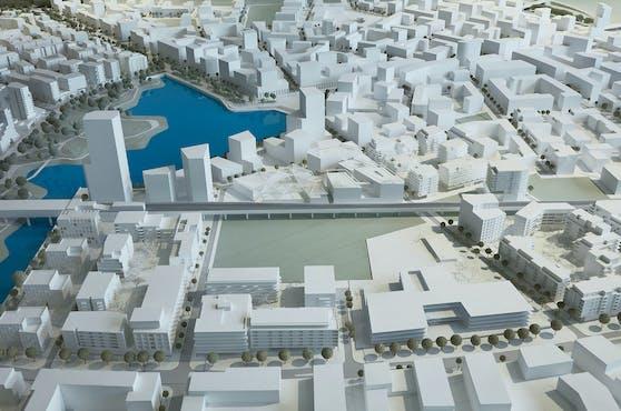 """Modellfoto des geplanten """"Campus der Religionen"""" in der Seestadt Aspern"""