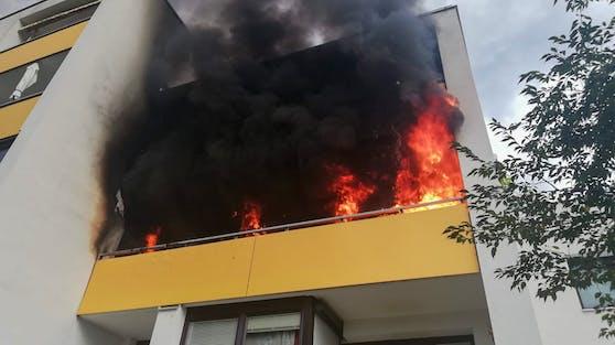 Balkonbrand Innsbruck Feuerwehr rettet Katze (10. August 2020)