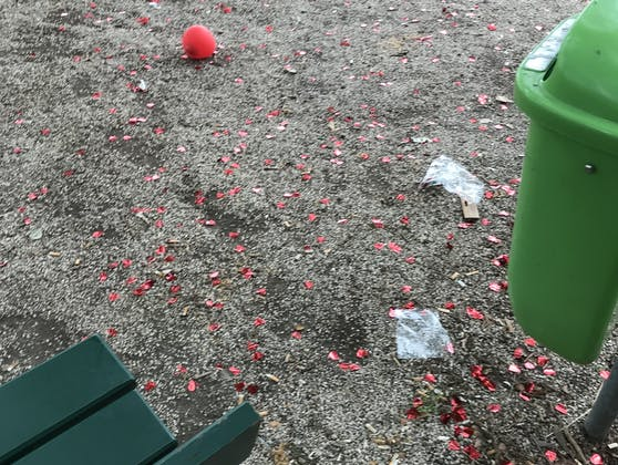 Nach den Shootings bleiben oft Plastikrosenblätter und Sackerl zurück.