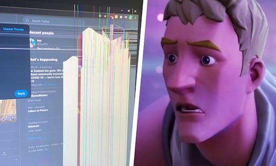 Der Monitor des jungen Gamers wurde zerstört.