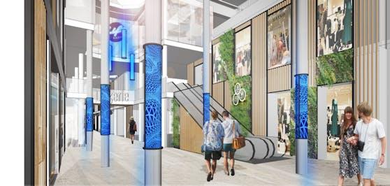 So wird die Arkade am Linzer Taubenmarkt ab März 2021 aussehen.