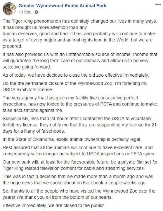 Lowes Statement auf Facebook.