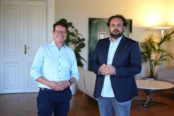 """Jürgen Czernohorszky (SPÖ) und Dino Schosche (""""Die Neuen"""")."""