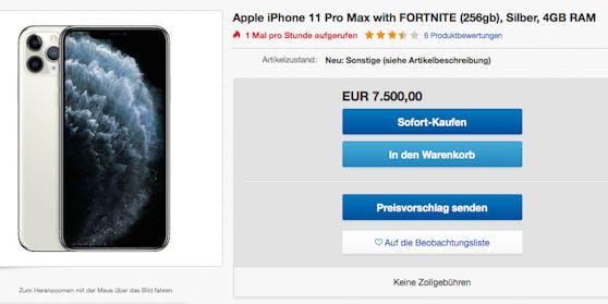 iPhone mit vorinstalliertem Fortnite für 7.500 Dollar auf ebay.de