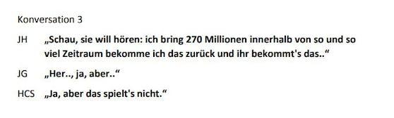 JH (Detektiv Julian H.),JG (Johann Gudenus) und HCS (Heinz-Christian Strache) im Gespräch