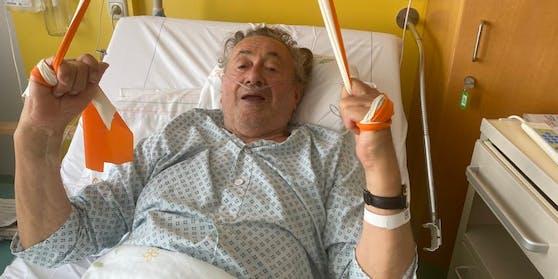 Richard Lugner bei einem früheren Spitalsaufenthalt.