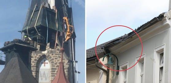 Der Kran gab nach, der Kirchturm stürzte ab und beschädigte das Dach des Rathauses in Bad Leonfelden.