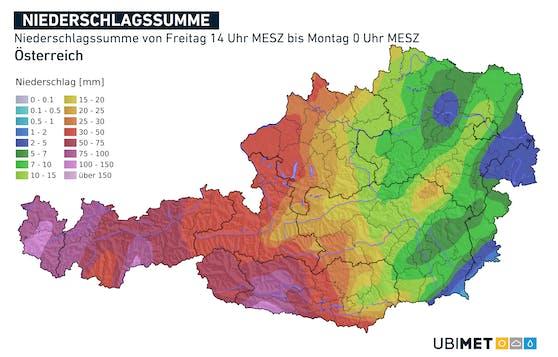 Prognostizierte Niederschlagsmengen von Freitagnachmittag bis Sonntagnacht