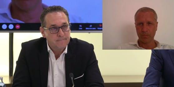 HC Strache mit Peter Bystron von der AfD bei der Pressekonferenz in Wien.