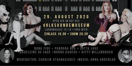 """Die """"Salon Kitty Revue"""" unter der Leitung von Kitty Willenbruch veranstaltet am 29. August ihr frivol, verruchten Sommerfest """"Vienna Calling""""."""