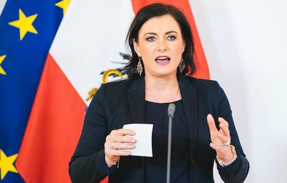 Elisabeth Köstinger vor der Regierungsklausur am 16. Juni 2020