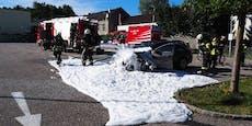 Mutter rettete sich mit Baby aus brennendem Auto