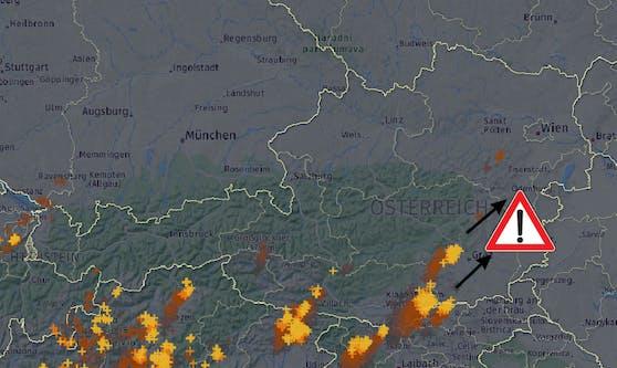 Gewitter treffen Österreich: Blitze um 15 Uhr (29. August 2020)