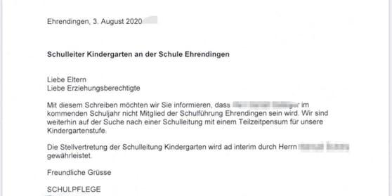 Mit diesem Schreiben gelangte die Entscheidung am Montagmorgen an die Eltern.