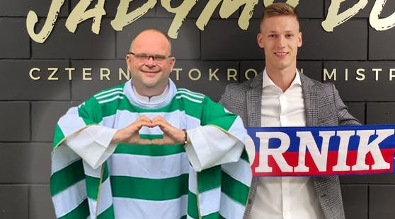 Rapid-Pfarrer Christoph Pelczar mit Alex Sobczyk