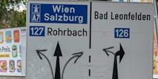 Auf diesem Schild geht es überall nach Wien