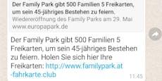 Whatsapp-Betrug mit Familypark-Freikarten
