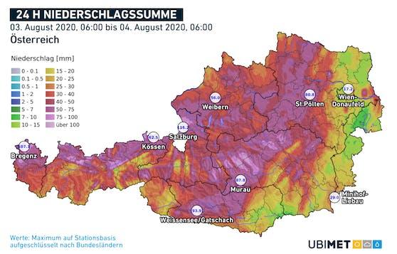 Die Niederschlagssummen in der 24-Stunden-Übersicht.
