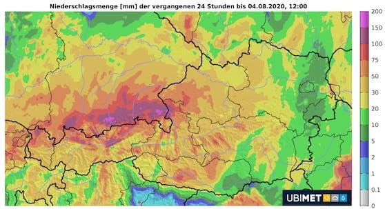Niederschlagsmengen in mm der vergangenen 24 Stunden bis 4. August 2020, 12 Uhr