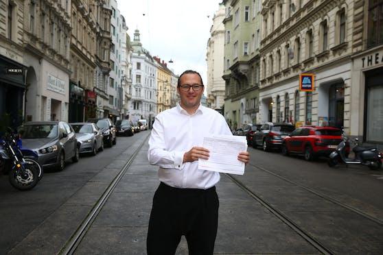 """Mirco Hämmerle will die Lerchenfelder Straße zwischen Neubaugasse und Lange Gasse zur Begegnungszone umbauen. """"Die Straße ist breit genug, um Wiens erste Begegnungszone mit Bim zu werden"""", argumentiert er."""
