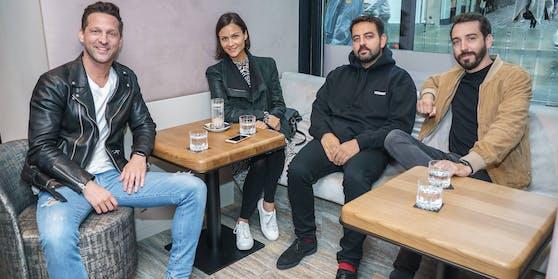 "Alexander Kumptner, ""Heute""-Redakteurin Romina Colerus, Ali Pasha und Steve Bladeck"