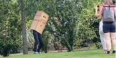 Warum tanzt hier eine bunte Kartonbox in Wiener Park?