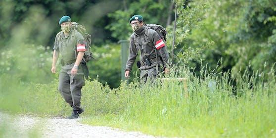 Milizsoldaten im Einsatz an der Grenze in Bad Radkersburg (Steiermark)