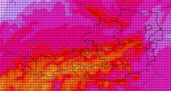 Die Hitze-Karte für Österreich: 35 Grad im Osten