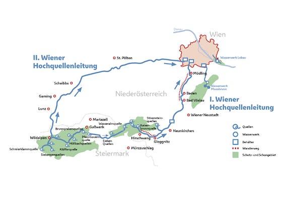 So verlaufen die beiden Wiener Hauptquellleitungen.
