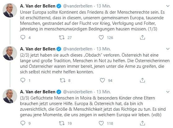 Alexander Van der Bellen fordert Hilfe für Flüchtlinge aus Moria.