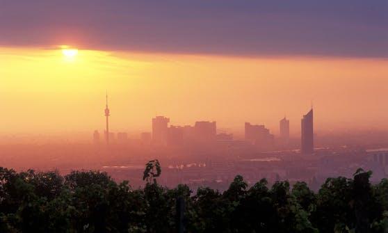 Sonnenaufgang-Sicht auf Wien vom Cobenzl