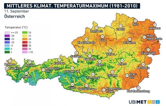Mittleres klimatologisches Temperaturmaximum an einem 11. September