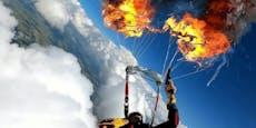 Fallschirm geht in 2.000 Meter Höhe in Flammen auf
