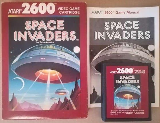 Gaming-Schätze: Atari 2600 Spiel Space Invaders mit Originalverpackung.