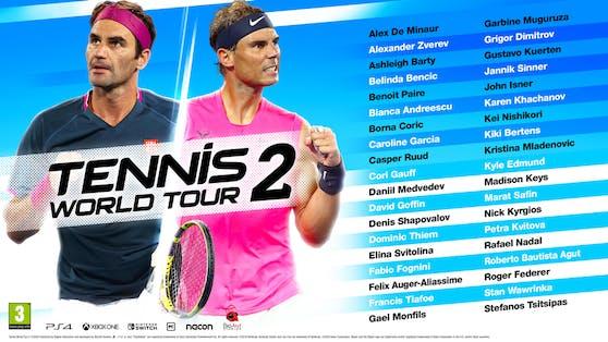 Tennis World Tour 2: Die 38 Tennisstars im Spiel.
