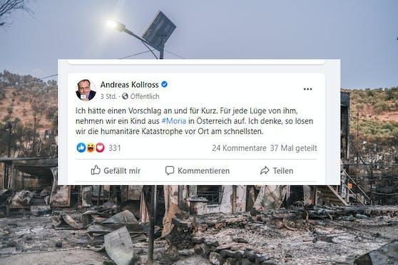 Posting von Kollross; im Hintergrund das abgebrannte Flüchtlingslager