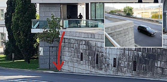 Direkt hinter der Mauer geht es mehrere Meter in die Tiefe.