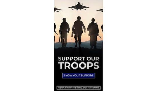"""US-Wahlwerbeplakat """"Support our Troops"""" wirbt mit russischen Jets und russischen Soldaten."""