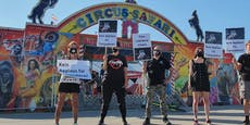 Tierschützer-Protest gegen Zirkus am Verteilerkreis