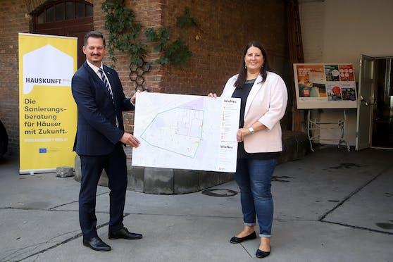 """Frauen- und Wohnbaustadträtin Kathrin Gaal und Marcus Franz, Bezirksvorsteher von Favoriten, gaben den Startschuss für das Grätzl-Erneuerungsprogramm """"WieNeu+"""""""