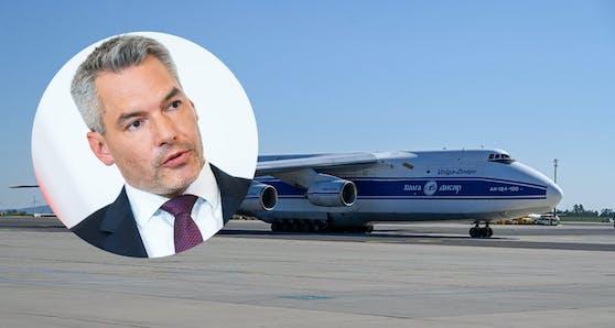 Minister Nehammer bringt Hilfsgüter nach Griechenland.